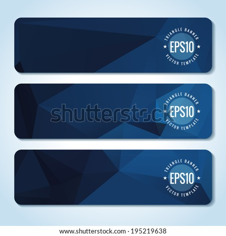 Set of dark blue website header or banner templates  - stock vector