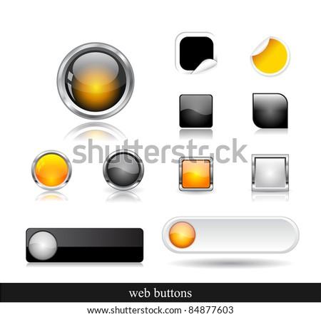 Set of dark buttons. Vector eps10  illustration. - stock vector