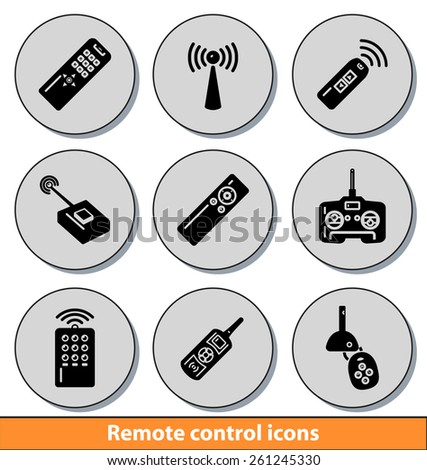 Set of dark remote control icons with reflection line - stock vector