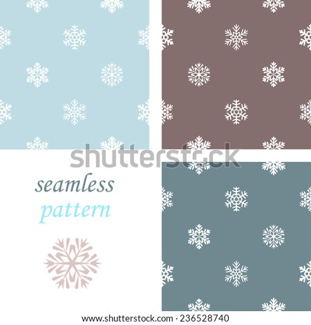 Set of dark  simple seamless blue winter pattern with snowflakes - stock vector