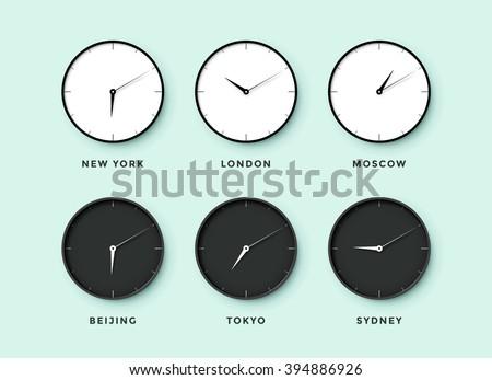 set day night clock time zones stock vector 394886926. Black Bedroom Furniture Sets. Home Design Ideas
