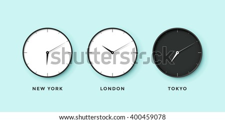 Set of day and night clock for time zones different cities. Black and white watch on a mint background. Vector Illustration - stock vector