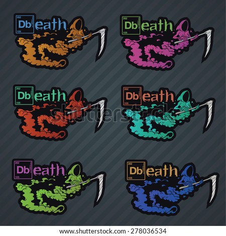 Set of death ghost character labels