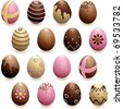Set of decorated chocolate eggs (Eps10); jpg version also available - stock vector