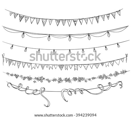 Set of decorations. Flags and lights. Vector sketch.  - stock vector