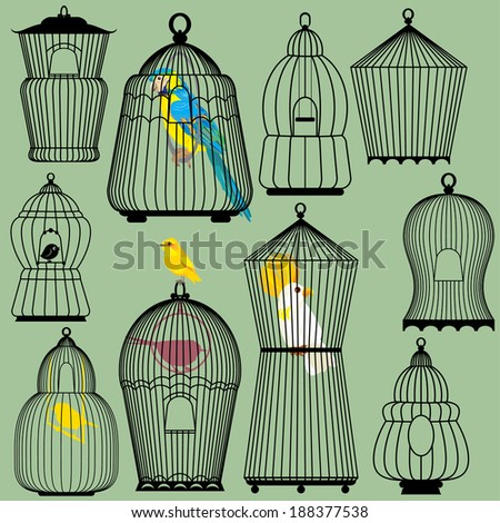 Set of decorative bird cage Silhouettes and birds - parrots and canary