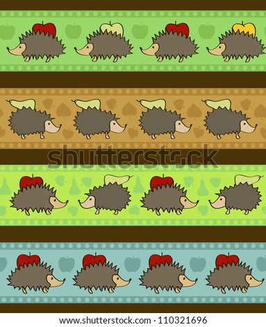 Set of 4 decorative borders with cartoon hedgehogs. No mesh, gradient, transparency used. Objects grouped and named in English.