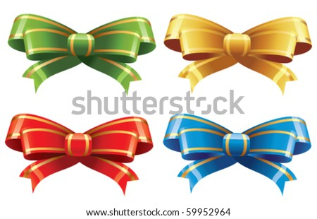 Set of decorative bow - stock vector