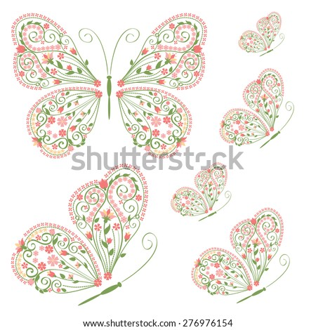 Set of decorative butterflies with floral ornament isolated on white background. Vector illustration. - stock vector
