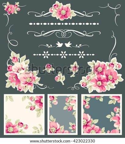 Set of decorative calligraphic elements and flower - stock vector