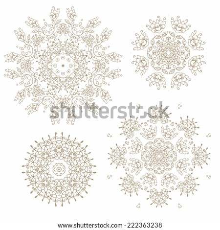Set of decorative Christmas snowflakes-rosettes for art works - stock vector