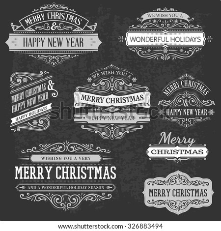 set of decorative christmas text