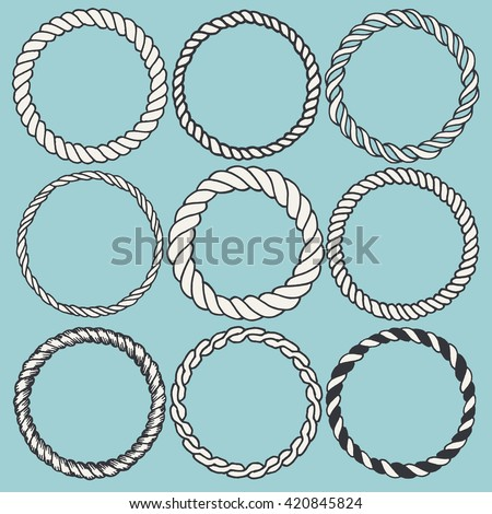 Set of 9 decorative circle border frames. Rope round wreaths for use as a decorative element, for logo or emblem. Circle design for round rope frames. These pattern brush you can find in my portfolio - stock vector