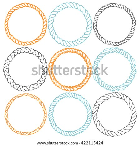 Set of 9 decorative circle border frames. Rope round wreaths for use as a decorative element, for logo or emblem. Circle ornamental borders. These pattern brush you can find in my portfolio - stock vector