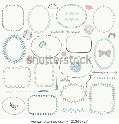 Set of Decorative Color Hand Sketched Rustic Floral Doodle Frames, Borders, Dividers, Design Elements. Hand Drawing Vector Illustration.