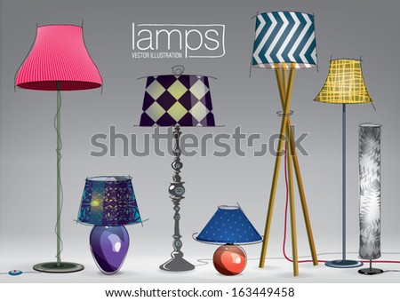 Set of decorative color lamps. Vector illustration - stock vector