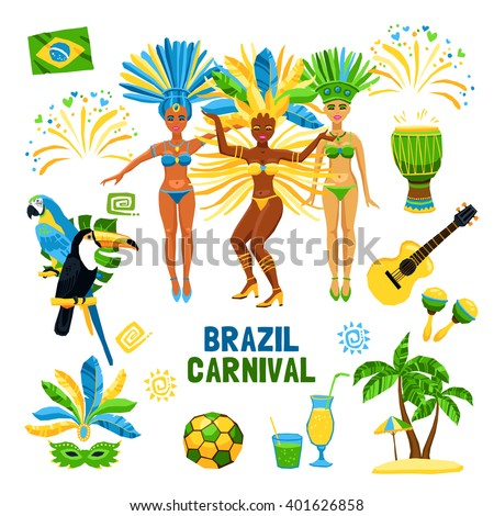 Set of decorative colored icons with different symbols of brazil carnival nature and people  vector illustration - stock vector