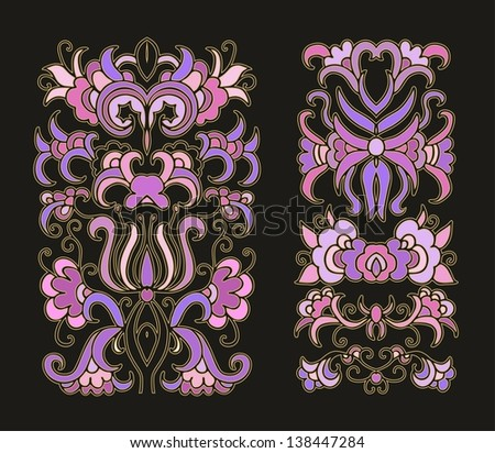 set of decorative curved floral compositions - stock vector