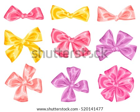 Set of decorative delicate satin gift bows and ribbons.