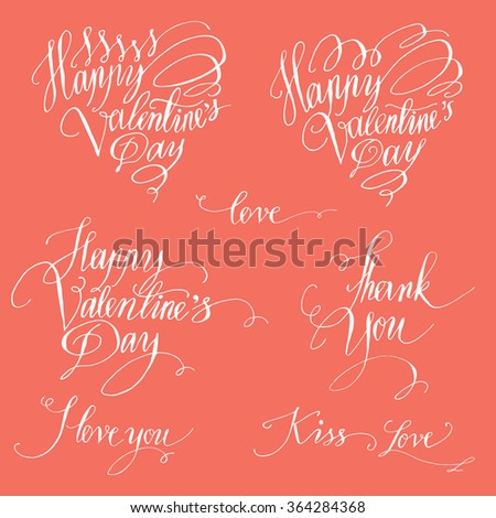 Set of decorative design elements representing Valentine's day related quotes and words. Handwritten texts in red ink on white background, could be used as parts of greeting cards, banners.