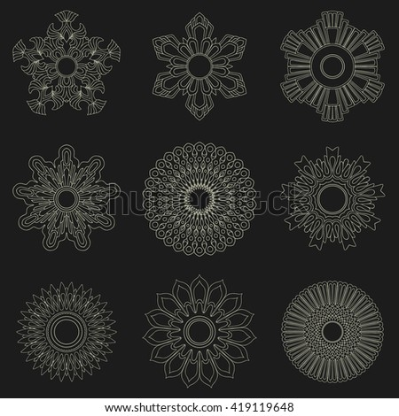 Set of decorative elements isolated on the black background.  Flowers, snowflakes, abstract floral pattern, stars. Vector emblem, sign, figures. Hand drawn graphics. Design template - stock vector