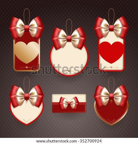 Set of decorative elements of various shapes with red bows, hearts and with place for  text. Decorations for Valentine's day, on dark background - stock vector