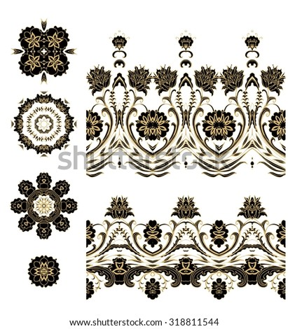 Set of decorative elements - rosettes, ribbons, lace - stock vector