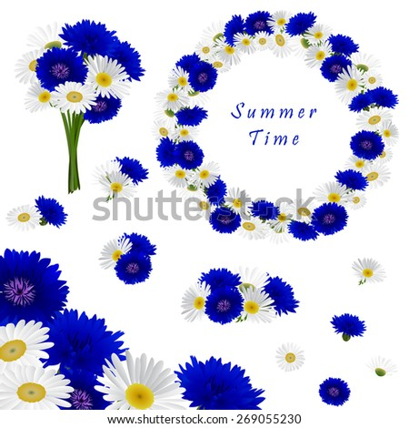 Set of decorative elements with flowers chamomile and cornflowers, can be used as wrapping or card for greeting invitation wedding birthday Easter  - stock vector