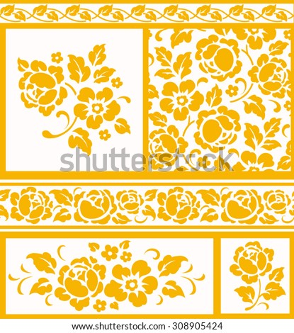 Set of decorative floral elements and seamless patterns and borders, gold flowers and leaves on white background. - stock vector