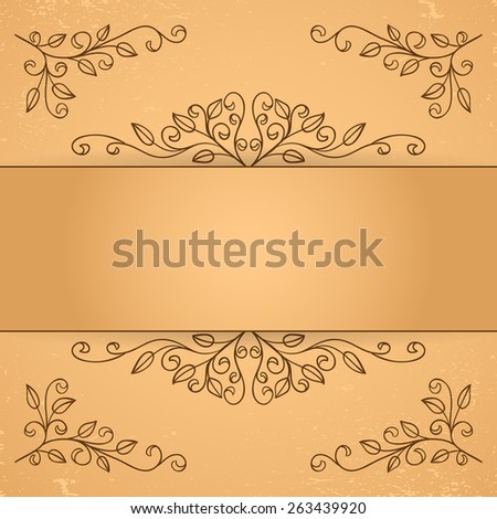 Set of decorative floral elements. Corner element and border