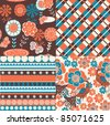 set of decorative floral seamless backgrounds - stock vector