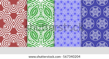 set of decorative floral seamless pattern. lace ornament. Vector illustration. for design invitation, background, wallpaper