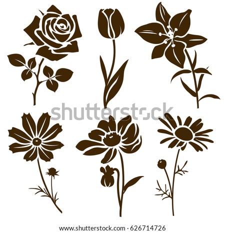 set decorative flower silhouette vector flower stock vector rh shutterstock com flower silhouette vector art flower silhouette vector art