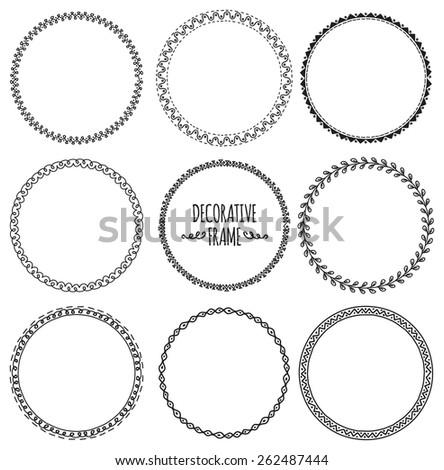 set of decorative frame doodle - stock vector
