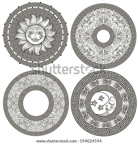 Set of decorative frames and rosettes with the Greek meander, pattern plant, sun and moon - stock vector