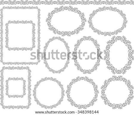 set of decorative frames - design elements - stock vector