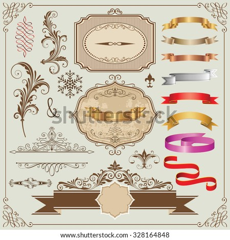 Set of decorative frames, ribbons and design elements vector illustration. Saved in   EPS 8 file with all elements are separated and very well designed/constructed for  easy editing. - stock vector
