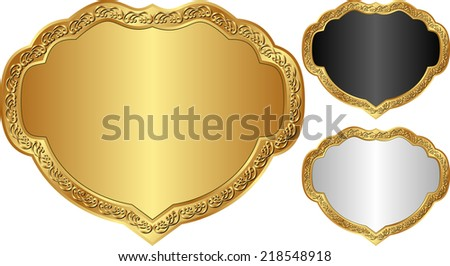 set of decorative frames with golden border - stock vector