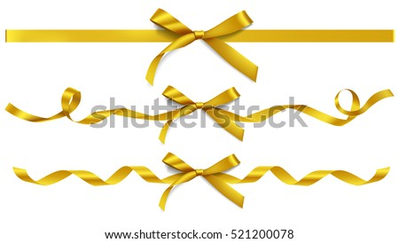 Set of decorative golden bows with horizontal ribbons isolated on white. Vector yellow bow