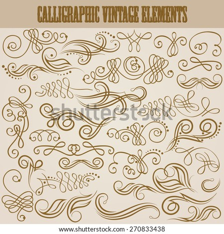 Set of decorative hand-drawn calligraphic elements, floral pattern for retro design of page, invitation, wedding, greeting, gift card. Elegant filigree vintage collection. Vector illustration EPS 8. - stock vector