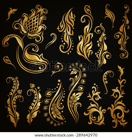 Set of decorative hand-drawn calligraphic elements, gold floral pattern for page, frame, border, invitation, gift card design. Elegant retro collection on black background. Vector illustration EPS 10 - stock vector