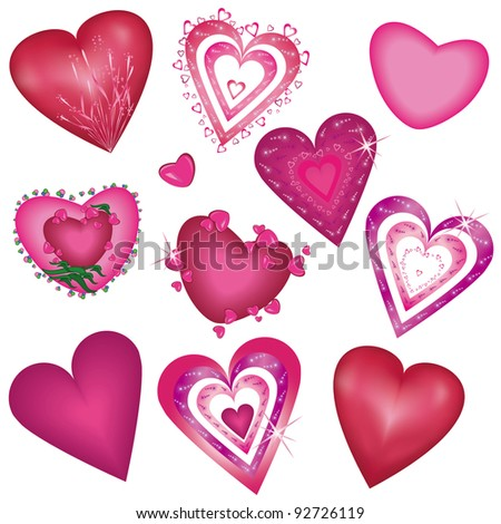 Set of  decorative hearts - stock vector
