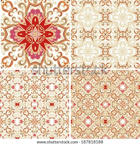 Set of decorative laced patterns - stock vector