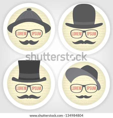 Set of Decorative men speech bubble. Vintage sticker. Gentleman face with hat, eyeglasses and mustache. - stock vector