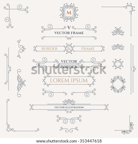 Set of decorative monograms, borders, frames, corners.  Design collection for  labels, invitations,  logos, banners, posters, badges, sign, stickers, cards. Graphic design page.  - stock vector