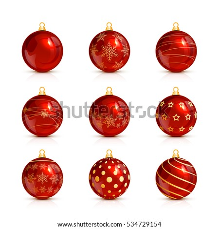 Set of decorative red Christmas balls isolated on white background, illustration.