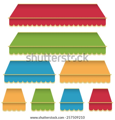 set of decorative red, green, blue and yellow awning, with tassels, isolated on white - stock vector