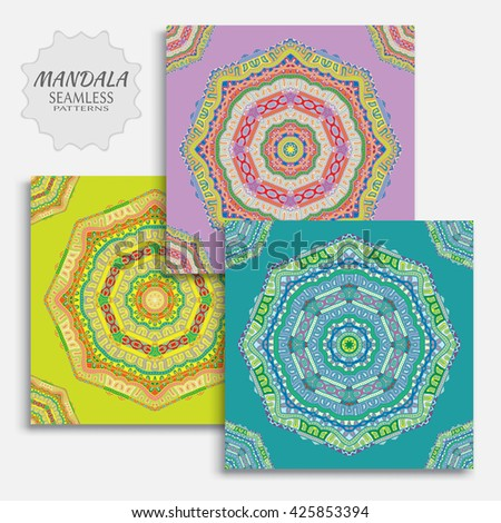 Set of 3 Decorative seamless ethnic mandala patterns. Hand drawn round geometric mandala ornament, bandanna shawl, carpet design. Vector decoration doodle floral mandala background, seamless texture