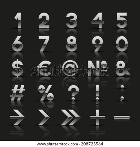 Set of decorative silver numbers and symbols. Vector illustration.  - stock vector