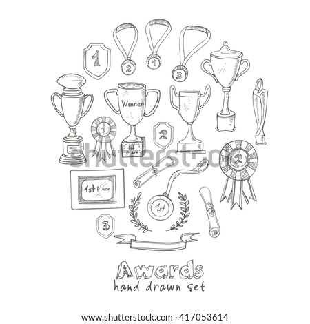 Set of decorative sketch Award with trophy, medal, winner prize, champion cup, ribbon. Isolated  Vector illustration. - stock vector